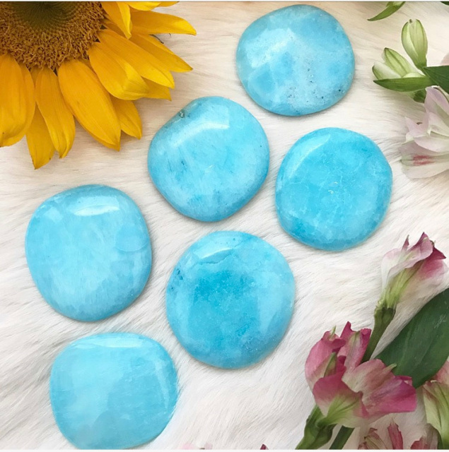 f0bfbe2f0e These gorgeous Blue Aragonite palmstones are premium quality with their all  natural tranquil blue color. They are wonderful to hold or lay upon the  body ...